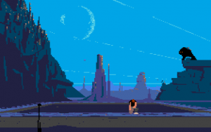 The use of colour and shading to create a world that both seeps realism and otherworldliness; far removed from the bouncing and playful platformers of the era.